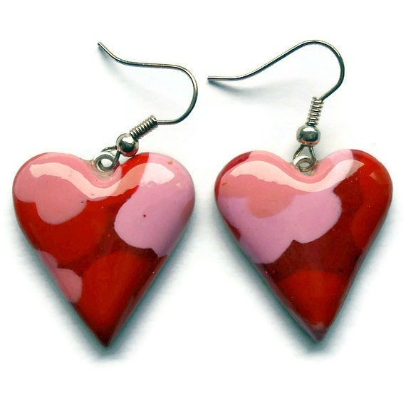 Heart drop earrings  red and pink floral by KireinaJewellery |  Craft Juice :  floral pink red one of a kind heart earrings