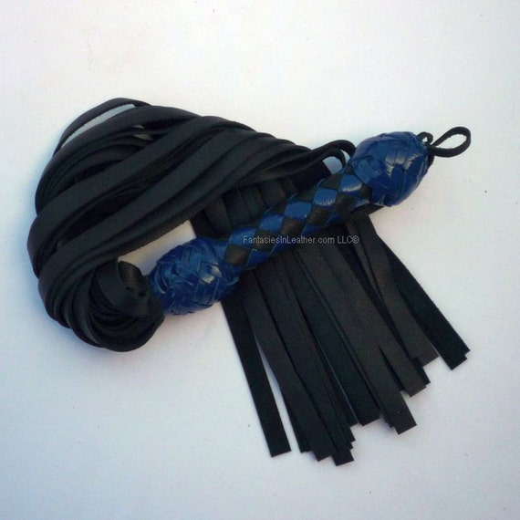 Blue Patent & Black Leather Flogger Whip BDSM Kink Fetish (FLG 104)