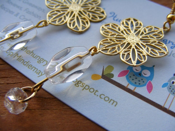 Earrings Gold Filigree Flowers