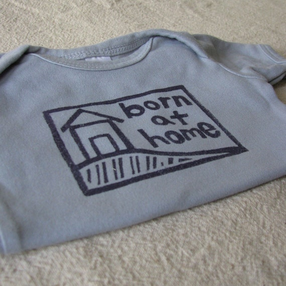 Homebirth Short Sleeve Onesie, Hand-Dyed, Hand-Printed - 0 to 3 Month Size