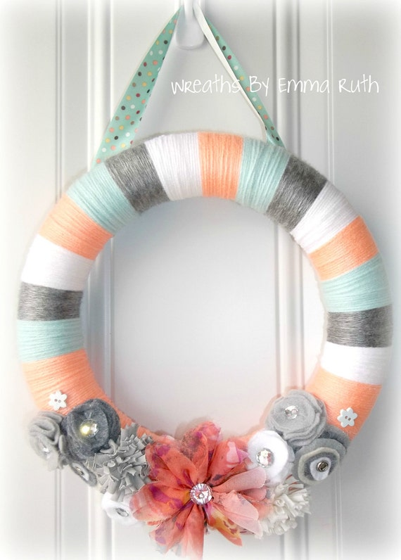 Spring Coral & Tiffany Blue Yarn Wreath
