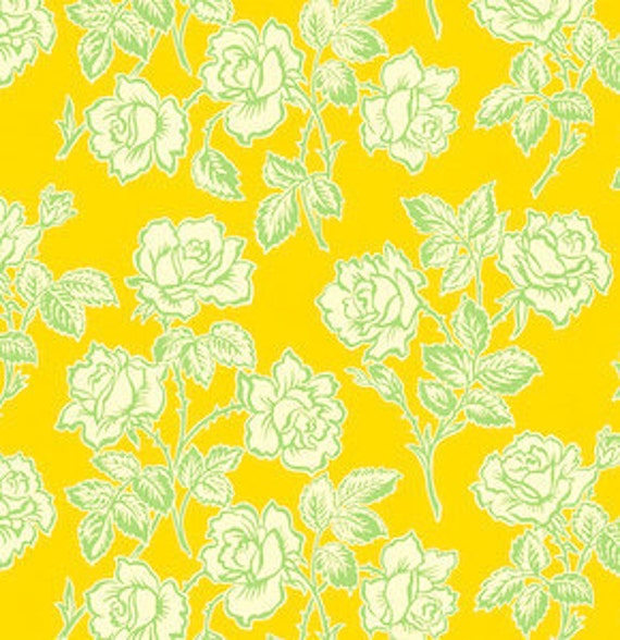 SALE- Pop Garden Wallpaper Rose Yellow by Heather Bailey- 1 Yard Quilt Fabric