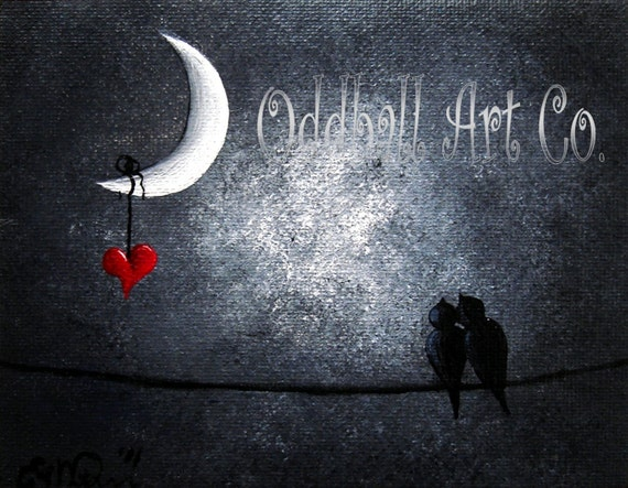 8 x 10 Love Birds Heart Moon Twilight Moonlight Birds On A Wire Fantasy Dark Art Archival Reproduction Print EAWT