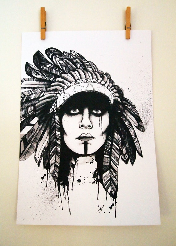 A3 Print, Naira, Native American Headdress