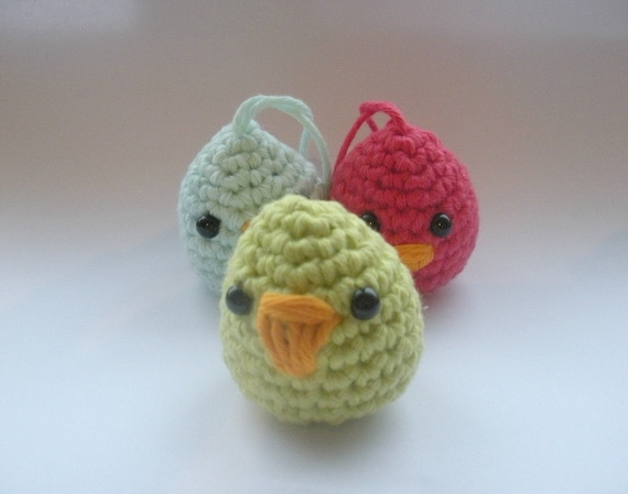 Baby Easter Chicks - raspberry lime & turquoise - set of 3