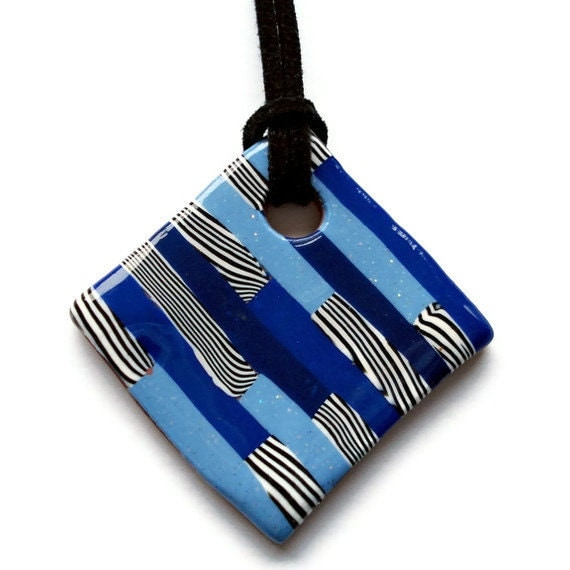 Diamond shaped pendant  blue and zebra stripe by KireinaJewellery |  Craft Juice :  polymer clay jewellery necklaces