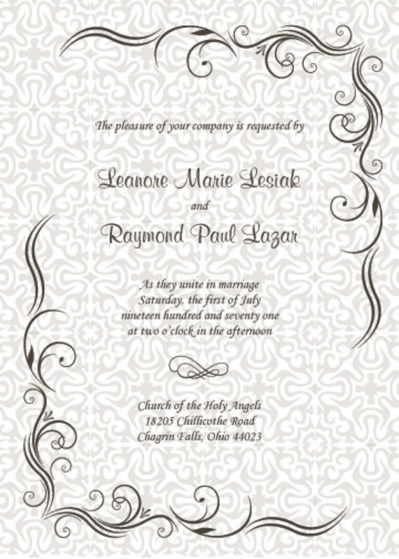 Traditional border swirl personalized Custom wedding invitation with