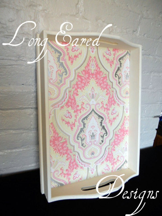 Ivory & Pink Damask Tray