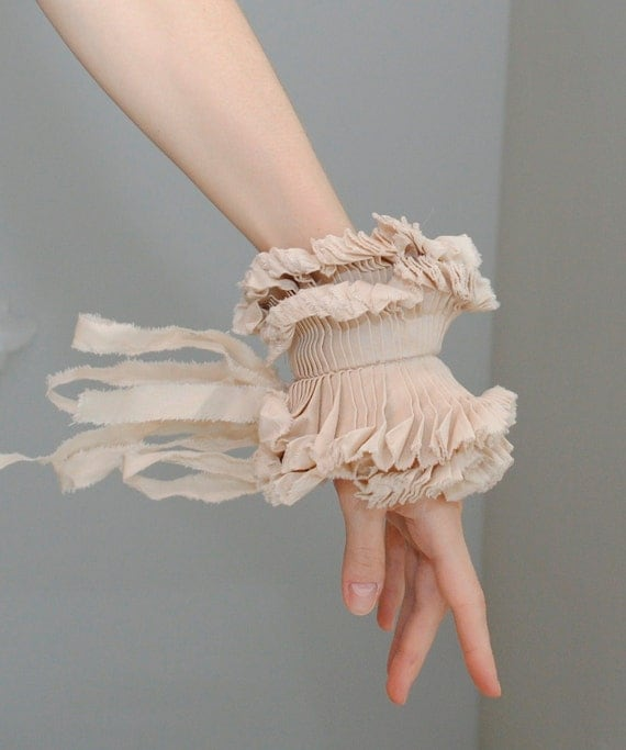 Ruffled cuffs/ Ruffled Fashion/ Hand made/ Beige/ Shabby chic/Wedding/ Rustic, wrist cuff
