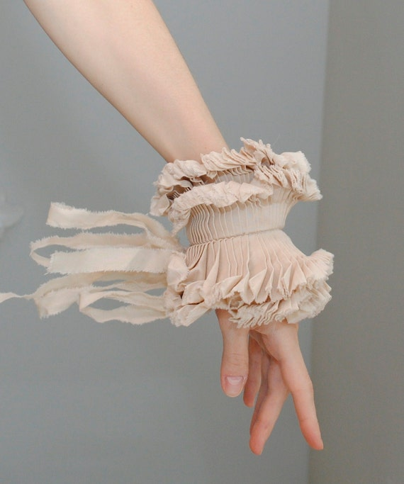 Ruffled cuffs/ Ruffled Fashion/ Hand made/ Beige/ Shabby chic/Wedding/ Rustic, wrist cuff