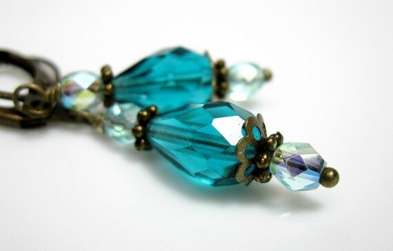 Caribbean, Teal Blue, Czech Glass, Vintage Style, Earrings