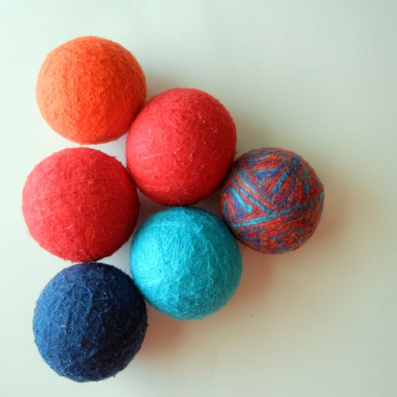 100% Wool Dryer Balls, felted, carnival colors, mardi gras, eco-friendly, ART Series, set of 6