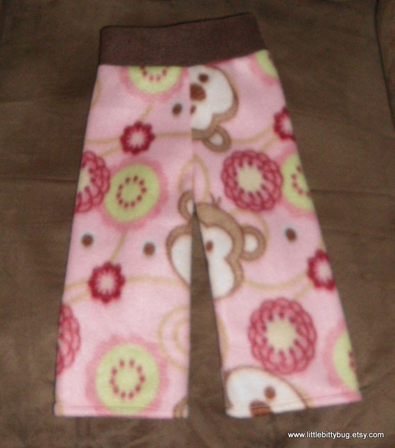 "Fleece Longies ""flowers and  monkeys"""