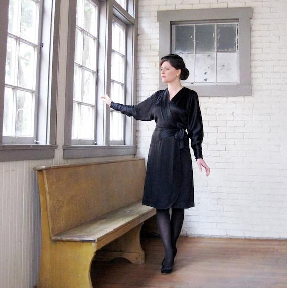 1930s 40s dress  Black Satin Wrap dress Lovely Fanya 40s 30s dress  size M