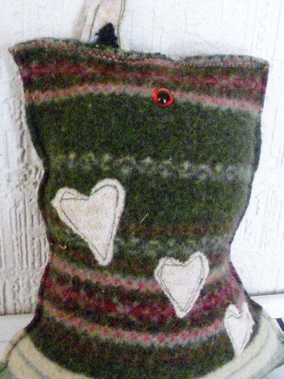 Recycled Sweater Monster Little Buddy in Green and Hearts