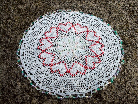 beaded crochet doily