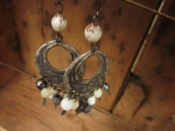 25% Of Sales Donated To Henryville,IN Vintage Oxidized Metal Hoop and Beaded Rustic Boho Assemblage Earrings