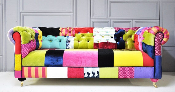 colorful chesterfield patchwork sofa