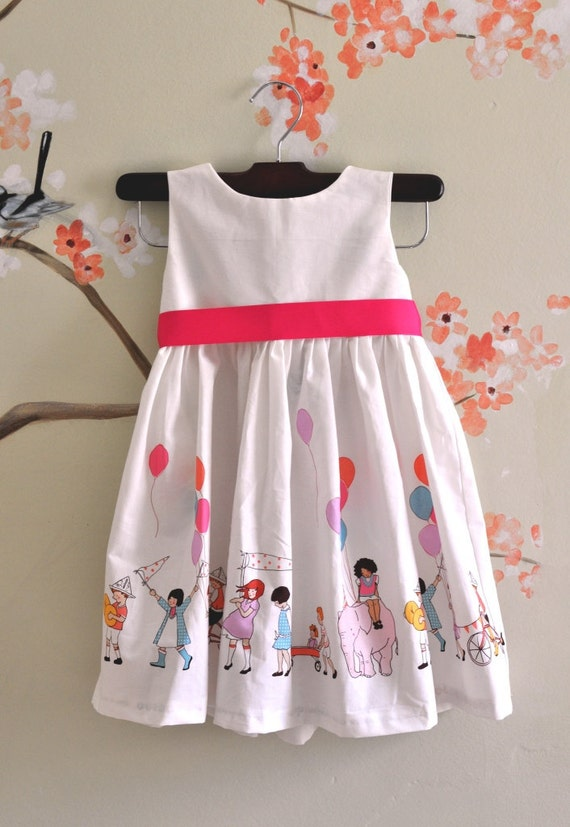 Caroline Party Dress in Parade Fabric