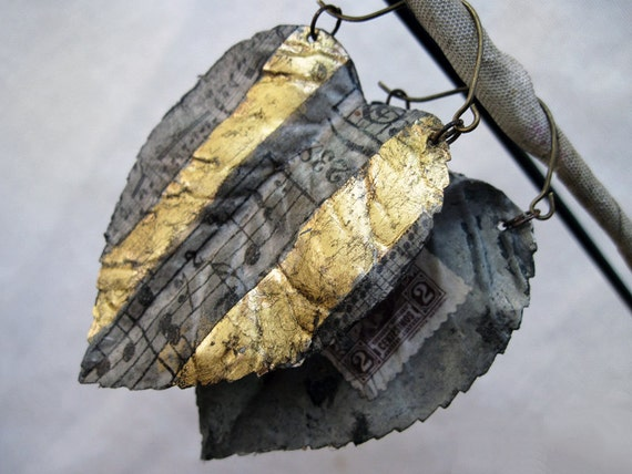 Hymns to Freedom. Gilded Assemblage Earrings of Leaves and Music.