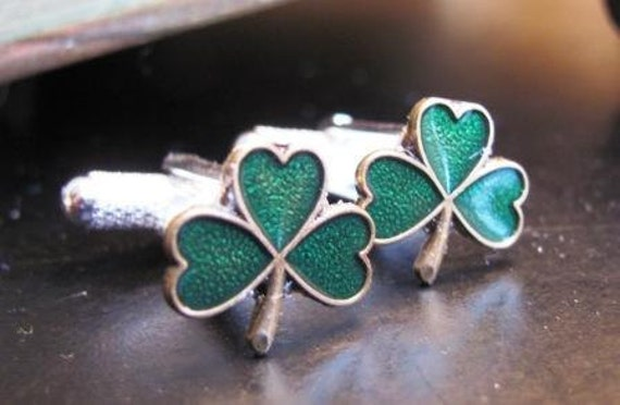 Small Green Enameled Shamrock Cufflinks -Only ONE pair