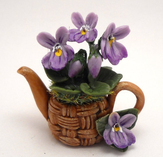 1/12TH scale -  Spring violets in basket teapot  by Lory