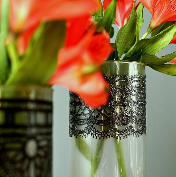 Черное и белое матовое стекло высокие вазы с черной отделкой Романтические кружева Детализация по LITdecor