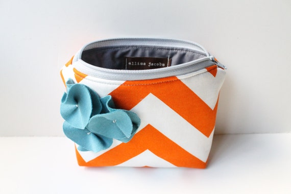 Zipper Pouch Cosmetic Bag - Orange Chevron with Cadet Blue Flowers