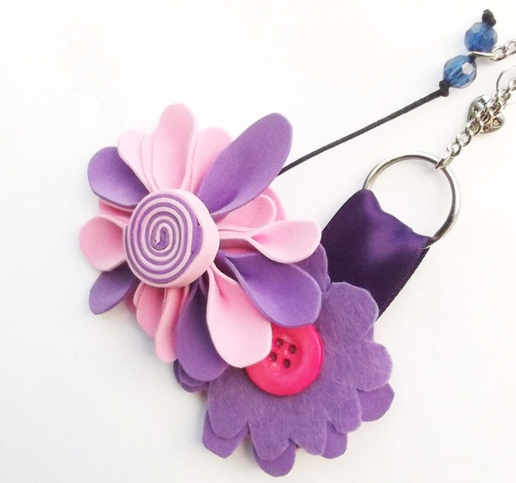 Handbag charm in purple and pink lollipop swirl