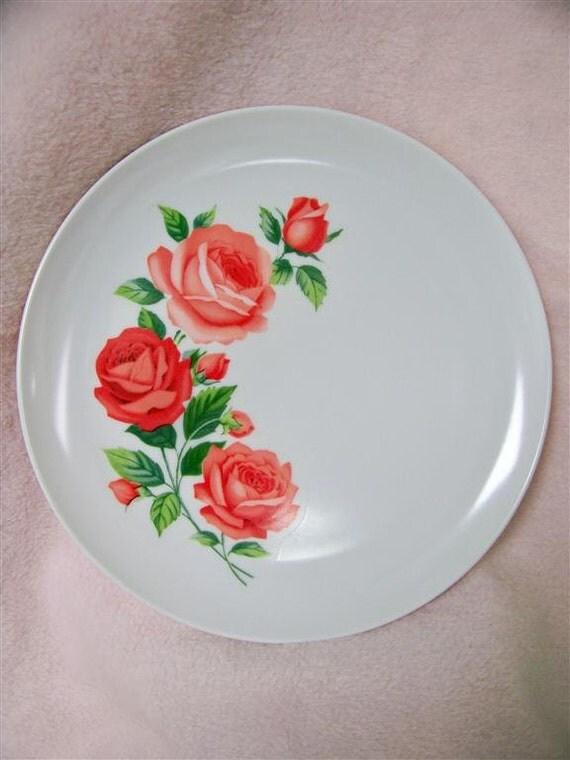 8 Matching Vintage Shabby Rose Plates White Melmac