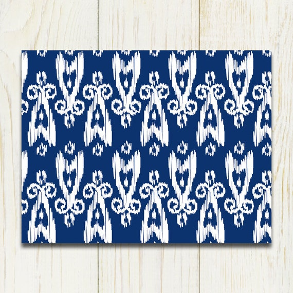 Ikat Folded Notecards // Sodalite Blue // Set of 15