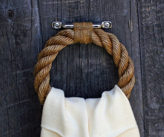 Manila, Hemp, and Steel Nautical Rope Grommet Towel Bar Ring