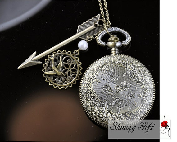 The Hunger Games Inspired Arrow,Mockingjay,and Peeta Pearl Victorian pattern golden dial Pocket Watch locket Necklace