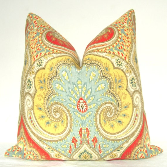 Pillow Cover - Decorative Pillow - Throw Pillow - Sofa Pillow - Kravet - 17x17 in - Yellow - Red - Blue - Taupe