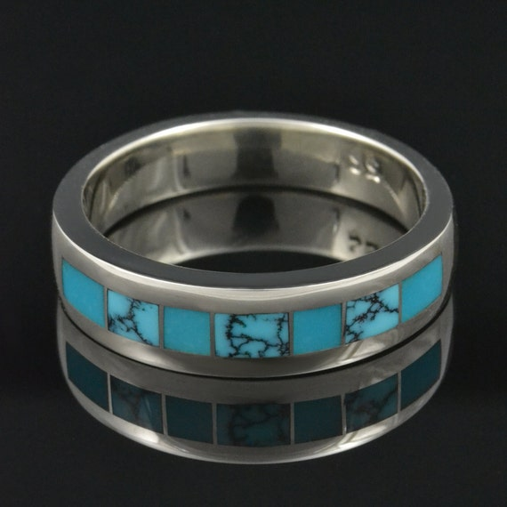 Spiderweb Turquoise and Turquoise Wedding Ring