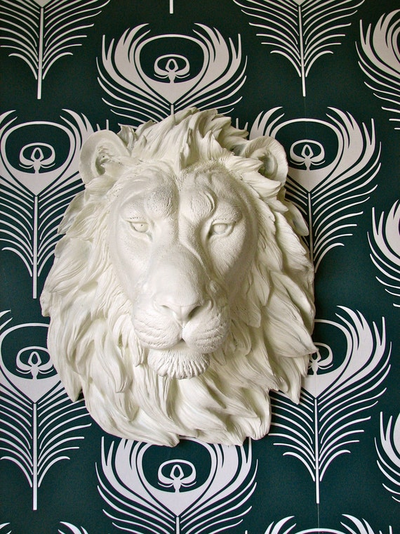 Faux Taxidermy Lion Head Wall Decor, Leonard the Lion