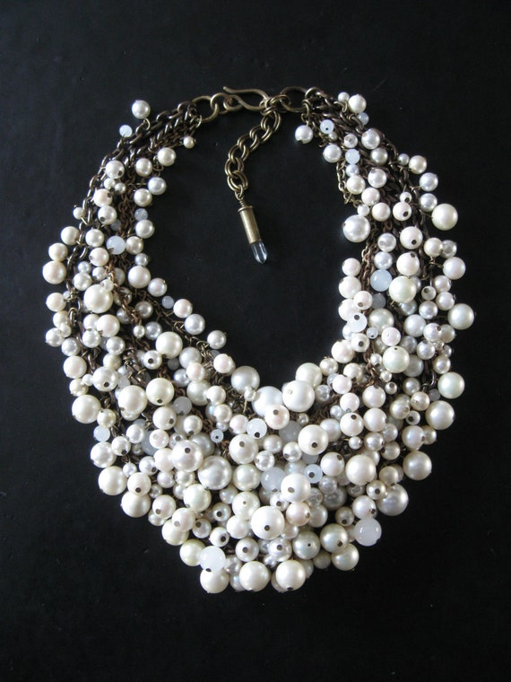 Recycled Pearl Bib Necklace - Mermaid Farts -  Creamy White and Brass - Eco Friendly