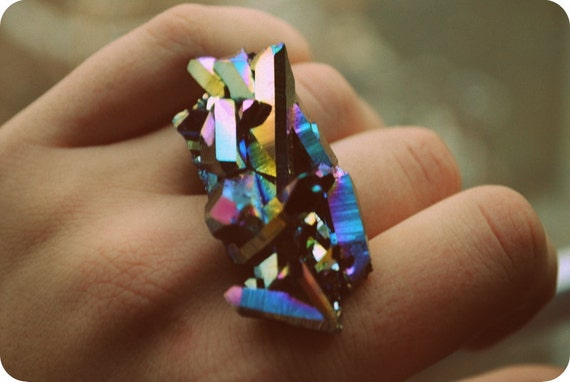 Cosmic Rainbow Titanium Crystal Knuckles Ring