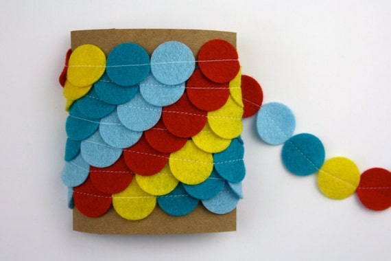 Felt Garland - Blue Red Yellow - 5 Feet - Circus