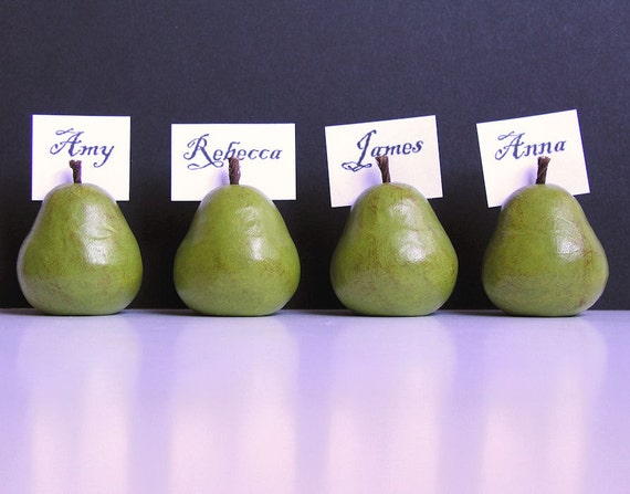 Four handmade polymer clay pears place card holders...green...Great gift...or for your next party... Weddings and Parties