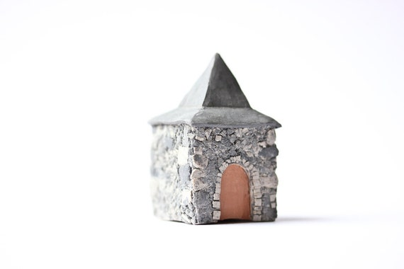 French Carriage House Architectural Sculpture little clay house France