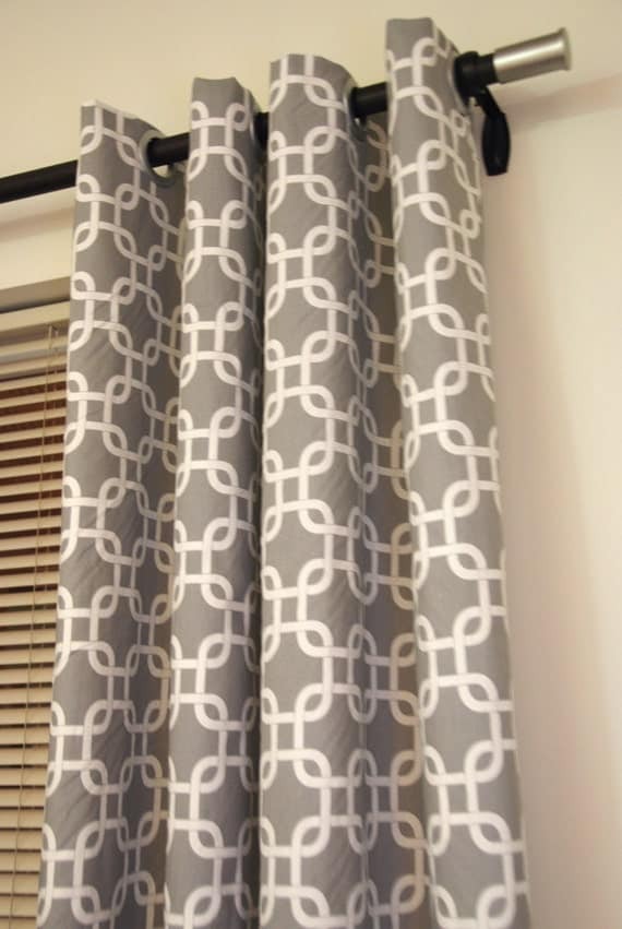 patterned drapes and curtains grey and living room. decorating living room with teal accents. teal faux silk fabric shower curtain shimmering metallic. accent teal blind custom curtains. bed curtains in teal to match accent wall around bed. proof that navy curtains on a grey wall with teal accents.