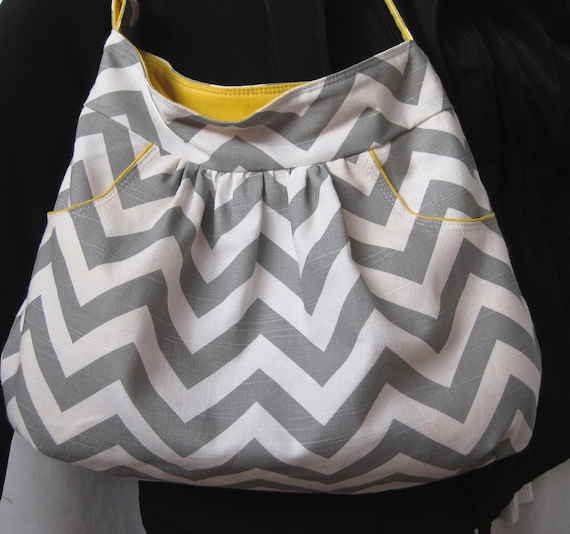 Hobo Bag, Baby Diaper Bag, Tote, Large Purse, Spring Fashion, Gray Chevron, Yellow Accents with 2 Deep FRONT Pockets, Quilted Lining