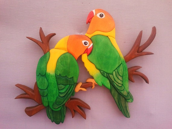 Parrot Love birds Tropical Birds Wall Hanging Wood Art Intarsia Wood Mosaic Acrylic Painting