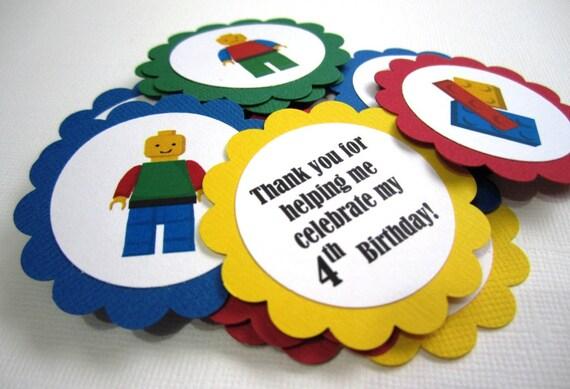 Lego Bloque Etiquetas Favor de vieiras o adorno T054 - Juego de 12