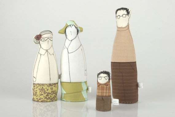 Spring family -  Grandmother, father, son and Auntie with a hat , Wear shades of green and brown-handmade fabric dolls