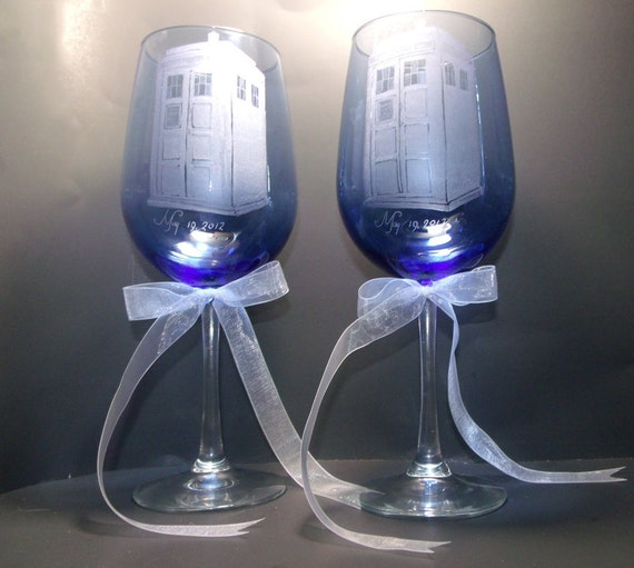 Reserved listing , DO NOT BID , Tardis, Doctor Who , Wedding goblets