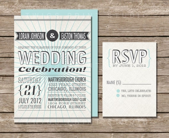 Vintage Wedding Invitation, Retro Teal