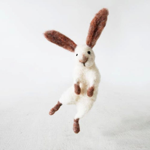 Sir Hopsalot - hopping bunny, decorative little soft figurine, handmade from wool