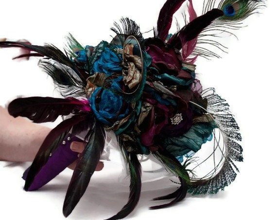 Peacock Bridal Bouquet In Your Wedding Colors From hARTjewelry